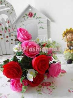 Artificial Rose 10 Flowers Wedding Bouquet Home Decor red&hot pink