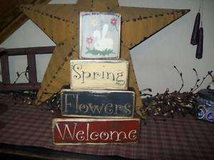 PRIMITIVE BLOCK SIGN~~SPRING~FLOWERS~WELCOME~BUNNY~~