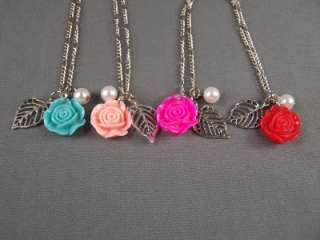 Red leaf rose rosette faux pearl pendant necklace