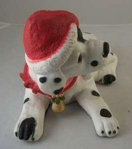 Christmas Dalmation Dog Figure Statue Santa Hat Cute