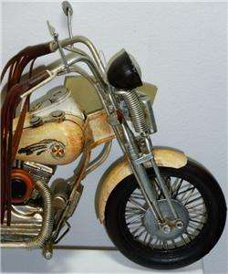 New Hand Painted Wood & Tin Decorative Indian Chief Motorcycle