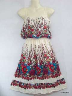 New Lovely Floral Casual Sundress Medium Dress Skirt Cream,Free Size
