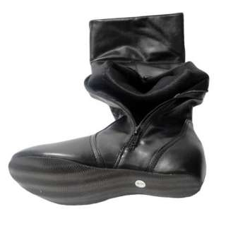 Womens Flat Knee High Slouchy Comfort Faux Leather Boots Black Size 5
