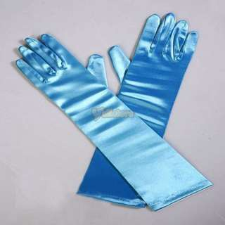 15 Blue Elbow Bridal Wedding Dress Satin Gloves