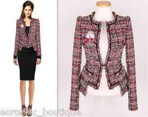 Luxury CoCo Pocket Layered Detail Red/Black Wool Tweed Blazer Jacket