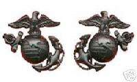 US Marine Corps Collar Badge Rank Insignia Black Pin |