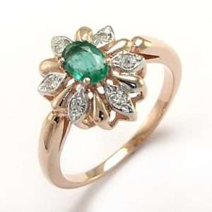 RUSSIAN JEWELRY Diamond & Emerald Ring 14k Rose Gold