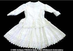 12 M Month VICTORIAN Baby WHITEWORK Lace GOWN Dress OLD