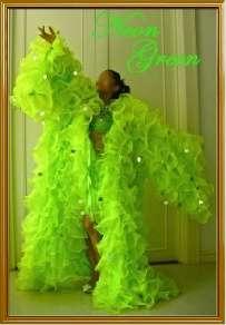 Green Chiffon Organza cabaret Drag queen Ruffle Coat