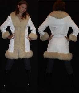 vtg 60s 70s white leather sheepskin fur trimmed princess coat jacket