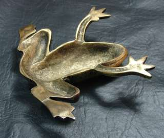 Rare antique bronze frog with glass eyes