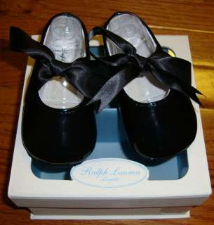 NEW RALPH LAUREN BLACK PATENT BRILEY INFANT TODDLER GIRLS SHOES