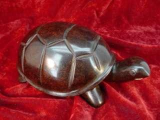 Original ROSEWOOD HAND CARVED TURTLE SCULPTURE Art 2 Vintage