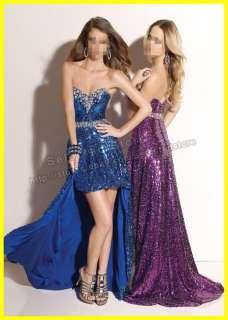 2012 Sheath Sweetheart Hi Lo Beaded Satin Blue /Purple Long Party Prom