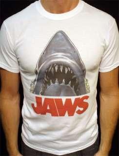 Jaws t shirt vintage movie shark 1975 film poster wht*