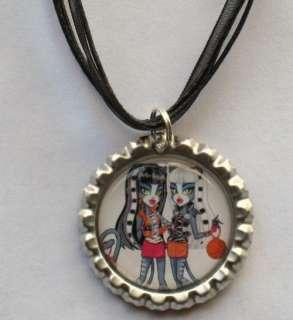 Bottlecap Necklace Monster High Werecat Twins Meowlody Purrsephone