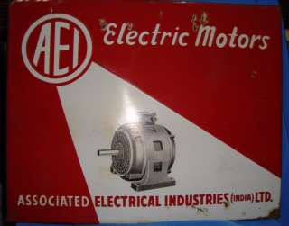 Old Vintage Porcelain Enamel Electric Motors Sign Board