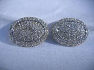 Vintage Signed S.A.L. SWAROVSKI Crystal Silver Tone Clip Earrings