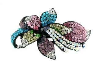 New Black Enamel Crystal Lily Flower Hair Clip Barrette