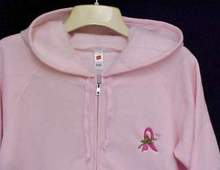 Breast Cancer Ribbon Rose Pink Zip Hood Sweatshirt 2X