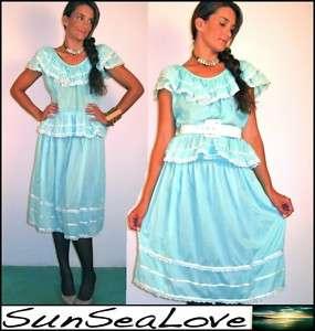 VTG Puerto Rico BOHO peasant dress MUNDILLO bobbin lace