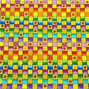FabriQuilt Cotton Fabric Bright Red Gold Perky FQs