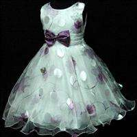 Purple Wedding Birthday Party Flower Girls Dress SZ 7 8