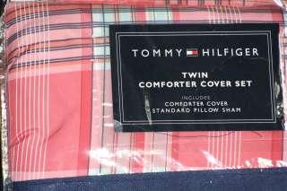 GIRLS Tommy Hilfiger Pink Green PLAID DUVET Set TWIN