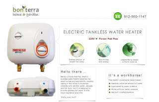 Tankless Hot Water Heater   Electric 220V   2 GPM Marey Power Pack