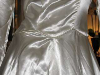 TTO65   1930s   40s Ivory Satin Wedding Gown   Lg   Haute Couture