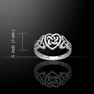 Irish Celtic Knotwork & Heart Love Silver Ring Size 6, 7 or 8