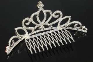Princess Royal Queen Crown Tiara Comb Hair Pink Swarovski Crystal