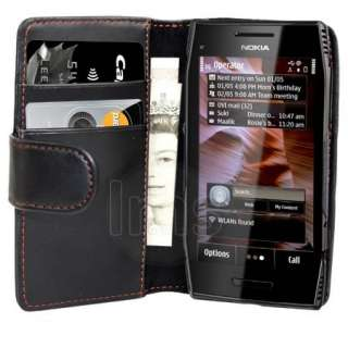 Black Wallet Leather Case For Nokia X700 X7 00 + Film
