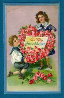 VINTAGE VALENTINE POSTCARD, BOY GIRL SWEETHEART