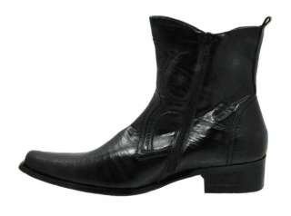 Men Dress Ankle Western Boot Slip On Zipper M3 683 Black 93 Men