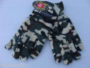 Mens Camo Fleece Gloves White/Green/Black/Brown pattern