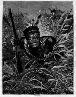 ZULU WAR SCOUT WITH GUN, ANTIQUE ZULU HISTORY ENGRAVING