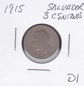 1915 El Salvador 3 Centavos World Coins