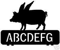 custom PIG FLYING metal steel mailbox topper sign art
