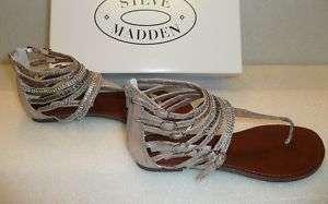 Steve Madden Simple L pewter metallic sandals NIB