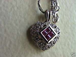 14K WHITE GOLD GENUINE RUBY DIAMOND PENDANT NECKLACE