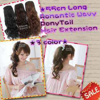 1pc Romantic 55cm Long Wavy Curly PonyTail Hairpiece Hair Extension