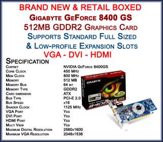 NVIDIA GEFORCE 8400GS 1GB PCI EXPRESS GRAPHICS CARD