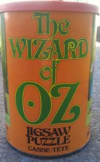 of Oz Vintage Jigsaw Puzzle in Round Tin Can   1975 APC #1093
