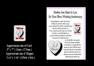 25TH WEDDING ANNIVERSARY BROTHER & SISTER IN LAW CARD & MAGNET GIFT