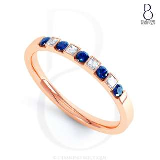 9K Rose Gold Blue Sapphire and Diamond Wedding Eternity Ring 2mm