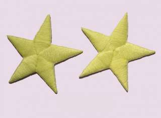 2x Neon yellow embroidered iron on star appliques/patch