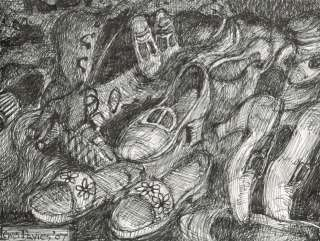 The Shoe Collector Original Signed Pen Ink DrawingLewis Davies