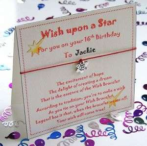 Personalised 21st Birthday Wish Bracelet Gift Card