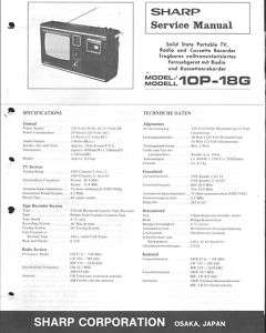 Sharp Original Service Manual für 10P 18G
